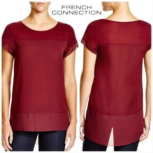 French Connection Polly Chiffon Raw Edge T-Shirt S